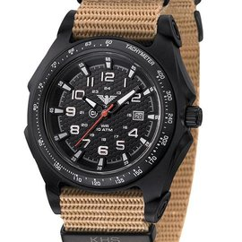 KHS Tactical Watches KHS Sentinel - A - Black  Nato Strap Tan