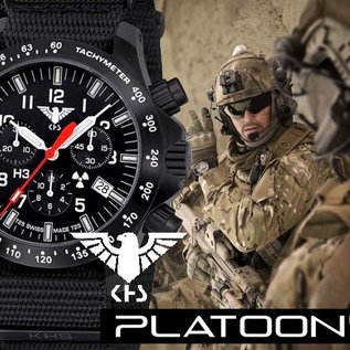 KHS Tactical Watches Black Platoon LDR Chronograph with NATO band Black