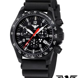 KHS Tactical Watches Black Platoon LDR Chronograph | Diverband Black