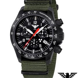 KHS Tactical Watches Black Platoon LDR Chronograph mit Nato Armband Olive