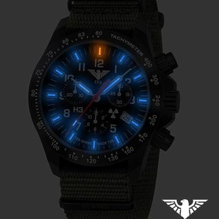 KHS Tactical Watches Black Platoon LDR Chronograph mit Natoband Olive