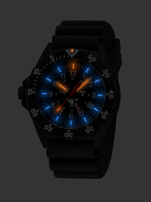 Khs Military Watch Shooter Gmt With Diver Strap Black