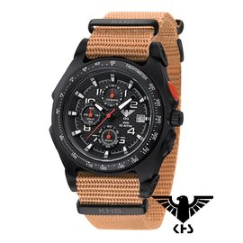 KHS Tactical Watches Sentinel AC Chronograph Black | Nato Armband TAN