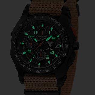KHS Tactical Watches Sentinel AC, Chronograph Black | NatobandTAN