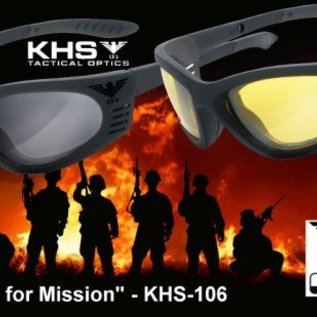 KHS Tactical Optics Tactical eyewear with padding Ready for Mission - Grey