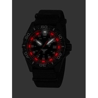 KHS Tactical Watches Militäruhr Reaper Natoband Black | RED HALO H3 Leuchtsystem