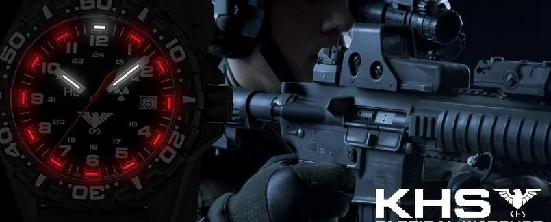 KHS Tactical Watches, REAPER, German Military Watch, Date, Red Trigalights ©