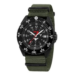 KHS Tactical Watches Enforcer Black Steel MK3 | Nato- Band Olive