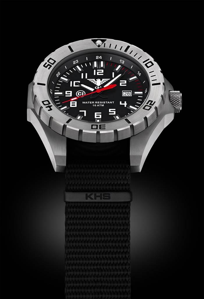 Khs Tactical Watches Landleader Steel Black Diver Band
