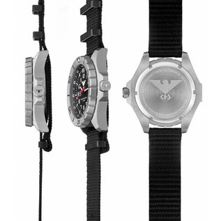 KHS Tactical Watches Einsatzuhr Landleader Steel mit Natoband Black