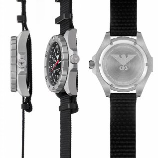 KHS Tactical Watches KHS Special operations Watch Country Leader Steel with Diver band black