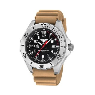 KHS Tactical Watches KHS MilitaryWatch Landleader Steel with Diver band Tan