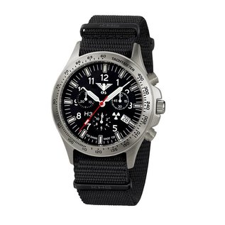 KHS Tactical Watches Black Platoon Titan Chronograph - Natoarmband