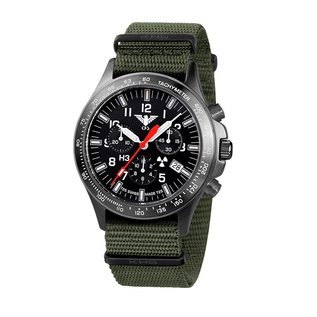 KHS Tactical Watches Black Platoon H3 Chronograph mit Nato Armband Olive
