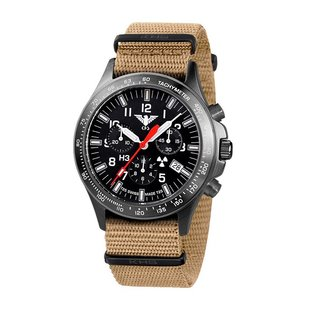 KHS Tactical Watches Black Platoon H3 Chronograph mit Nato Armband Tan