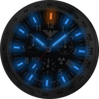 KHS Tactical Watches Black Platoon H3 Chronograph mit schwarzen Büffel-Lederband