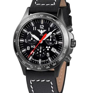 KHS Tactical Watches Black Platoon H3 Chronograph with black buffalo leather strap