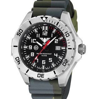 KHS Tactical Watches KHS Tactical Watches Einsatzuhr Landleader Steel mit Silikonband Camouflage Olive