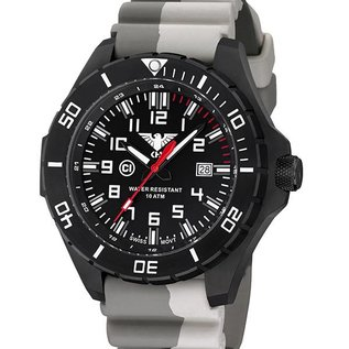 KHS Tactical Watches KHS Einsatzuhr Landleader Black Steel mit Silikonband Camouflage Tan
