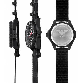KHS Tactical Watches KHS Einsatzuhr Landleader Black Steel mit Silikonband Camouflage Grey