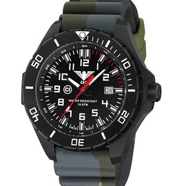 KHS Tactical Watches KHS Landleader Black Steel with Camouflage Silicone Strap Olive| KHS.LANBS.DC3