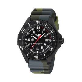 KHS Tactical Watches Landleader Black Steel mit Silikonband Camouflage Oliv | KHS.LANBS.DC3