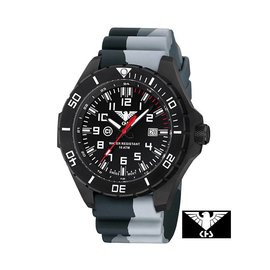 KHS Tactical Watches KHS Landleader Black Steel with Camouflage Silicone Strap Grey| KHS.LANBS.DC1
