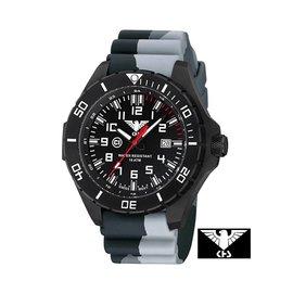 KHS Tactical Watches Landleader Black Steel mit Silikonband Camouflage Grey | KHS.LANBS.DC1