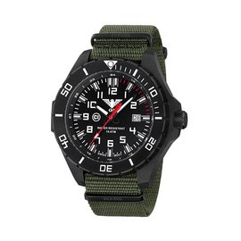 KHS Tactical Watches Landleader Black Steel mit Nato Armband Oliv | KHS.LANBS.NO