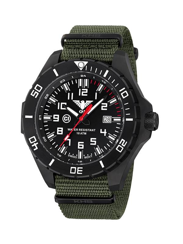Khs Tactical Watches Landleader Black Steel Nato Strap