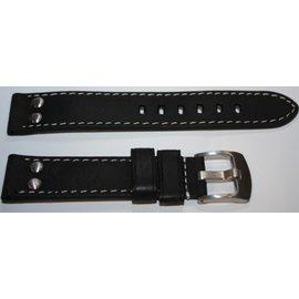 Eichmüller Uhrenarmband Lederarmband - AVIATOR | 24mm | schwarz