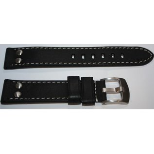 Eichmüller Genuine leather strap - AVIATOR | 24mm | black