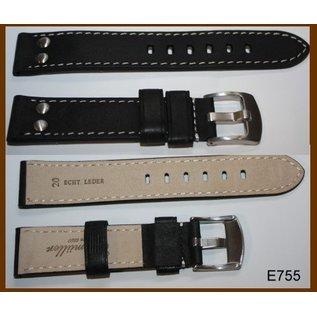 Eichmüller Uhrenarmband Echtlederarmband - AVIATOR   24mm schwarz