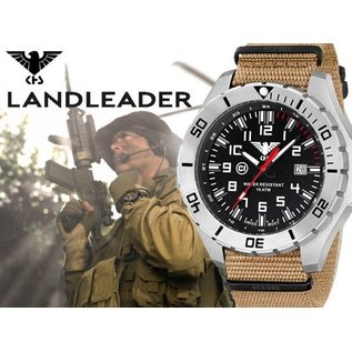 KHS Tactical Watches Einsatzuhr Landleader Steel mit Natoband Tan