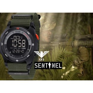KHS Tactical Watches Sentinel DC - Digital Alarm Compass Chronograph with Nato Strap Olive