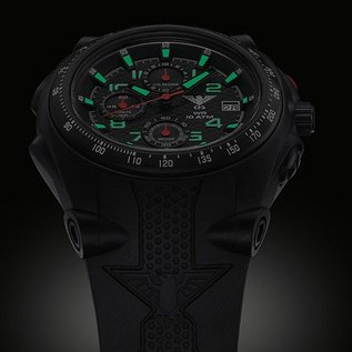 KHS Tactical Watches Sentinel AC, Chronograph Black | Silikonband Black