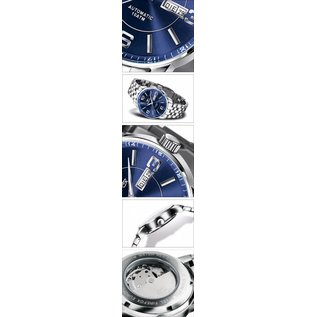 Firefox Watches  Firefox Automatik Business Herrenuhr blau-silber - Edelstahlarmband