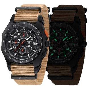 KHS Tactical Watches Sentinel AC, Chronograph Black   NatobandTAN