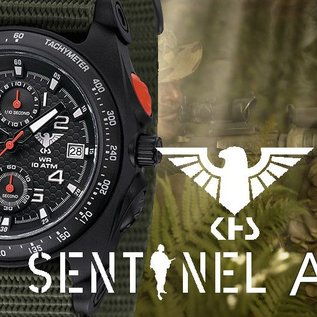 KHS Tactical Watches Sentinel AC, Chronograph Black | Natoband Olive