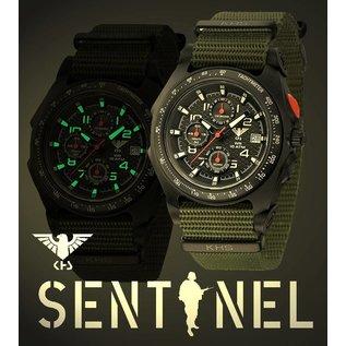 KHS Tactical Watches Sentinel AC, Chronograph Black | Natoband Olive