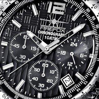Firefox Watches  RACER Edelstahl Chronograph Armbanduhr 10 ATM | schwarz |  | Edelstahlarmband
