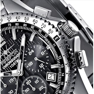 Firefox Watches  RACER Stainless Steel Chronograph Men's Wristwatch 10 ATM   black   stainless steel bracelet