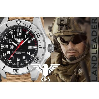 KHS Tactical Watches KHS Herrenuhr Landleader Steel mit Diver Band Tan