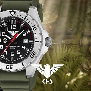 KHS Tactical Watches KHS MilitaryWatch Landleader Steel with Nato band green