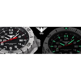 KHS Tactical Watches KHS MilitaryWatch Landleader Steel with Camouflage band grey