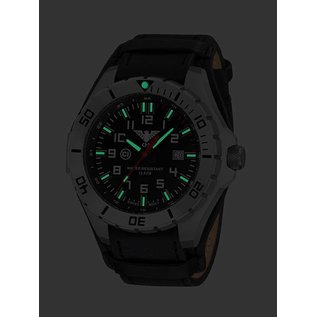 KHS Tactical Watches Landleader Steel mit G-Pad Lederarmband Black | KHS.LANS.R