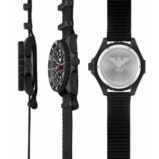 KHS Tactical Watches KHS Einsatzuhr Landleader Black Steel mit schwarzen Silikonband