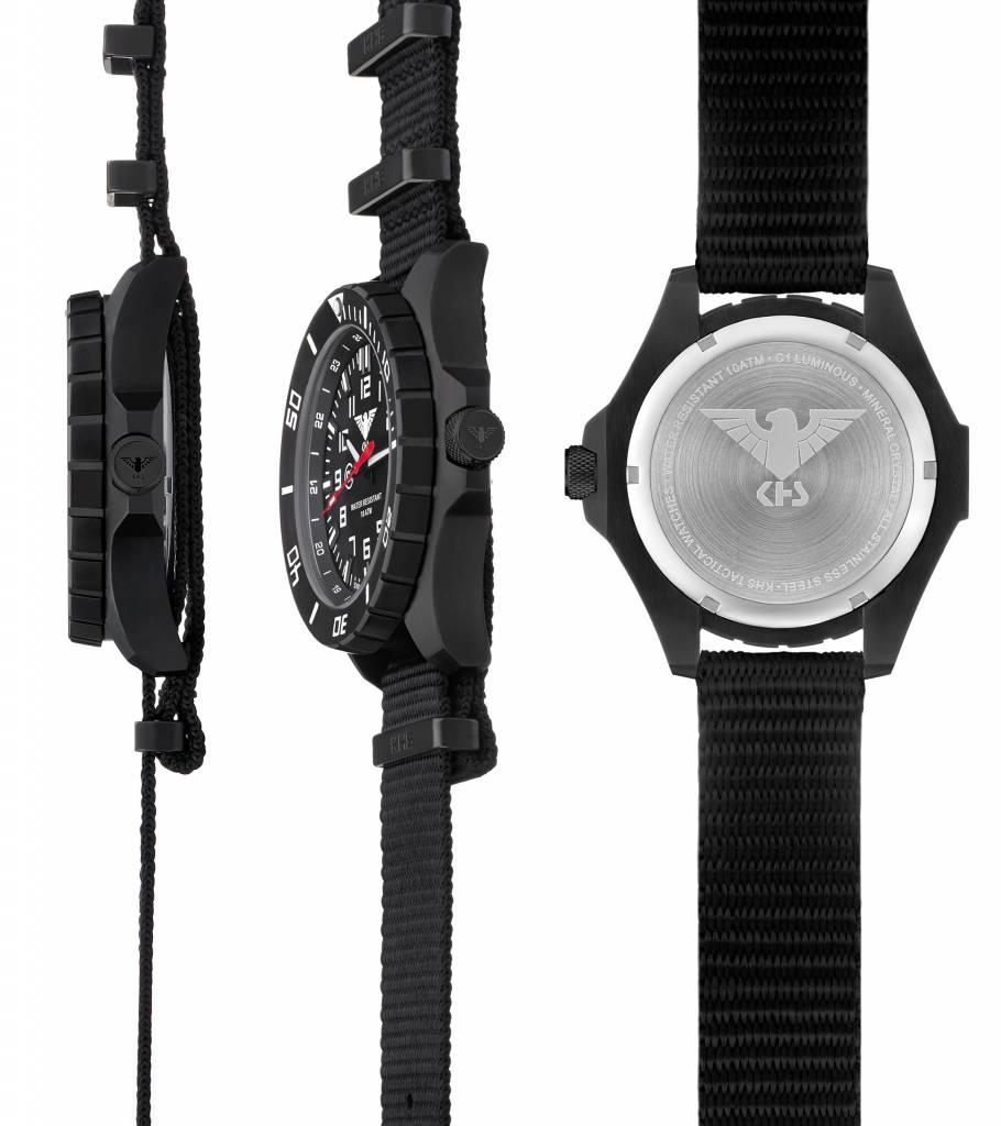 khs tactical watches landleader black steel diver strap black khs khs tactical watches khs military men s watch landleader black steel green diver band