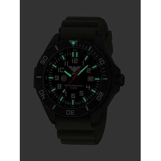 KHS Tactical Watches KHS Einsatzuhr Landleader Black Steel mit Silikonband Oliv