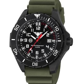 KHS Tactical Watches KHS Landleader Black Steel with Diver Band Oliv | KHS.LANBS.DO